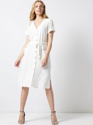 Krémové šaty s prímesou ľanu Dorothy Perkins