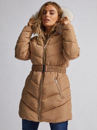 Béžový prešívaný zimný kabát Dorothy Perkins Petite