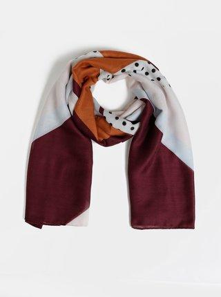 Růžovo-vínový vzorovaný šátek ONLY Vice