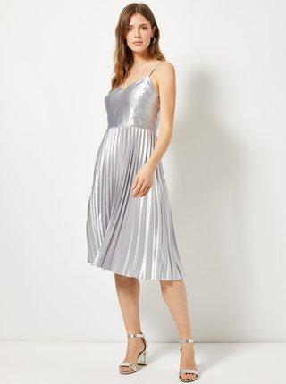 Plisované šaty v striebornej farbe Dorothy Perkins