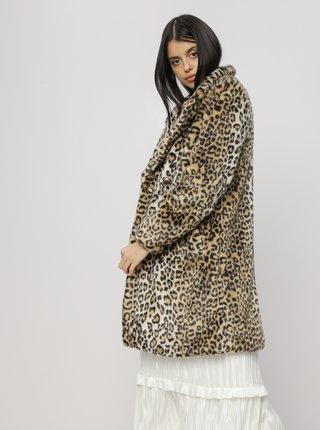 Svetlohnedý kabát z umelej kožušiny s leopardím vzorom M&Co