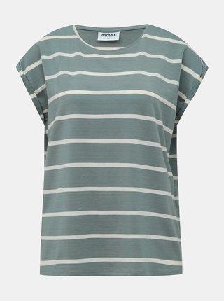 Modrošedé pruhované basic tričko AWARE by VERO MODA Ava