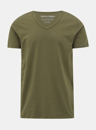 Khaki basic tričko Jack & Jones