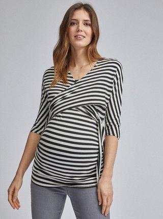 Černo-bílé pruhované těhotenské/kojicí tričko Dorothy Perkins Maternity