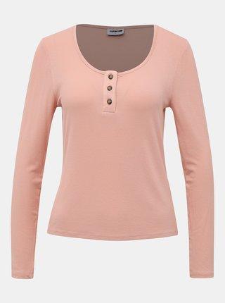 Svetloružové tričko Noisy May Henley