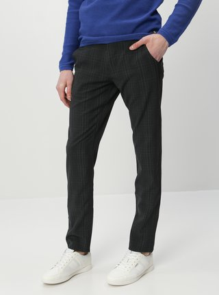 Tmavošedé kockované slim fit nohavice Selected Homme Storm