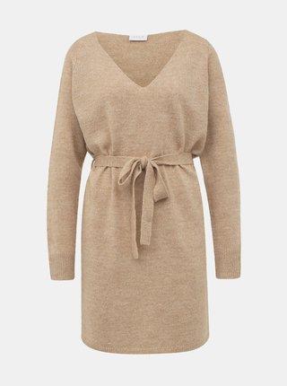 Béžové svetrové basic šaty VILA Suril