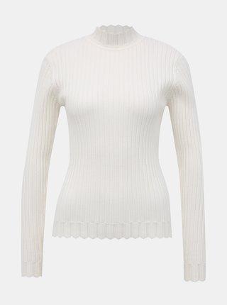 Bílý žebrovaný svetr VILA Olivi
