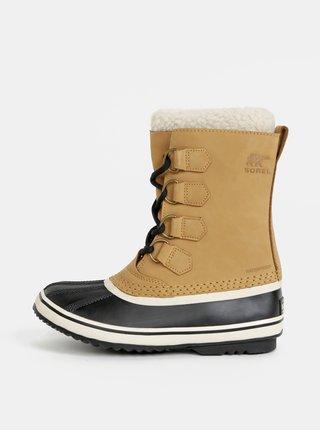Béžové dámské kožené nepromokavé zimní boty s umělým kožíškem Sorel