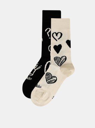 Krémovo-čierne vzorované ponožky Fusakle Symbol