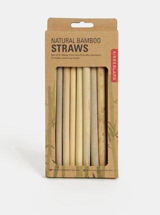 Sada osmi béžových bambusových brček s čistícím kartáčkem Kikkerland