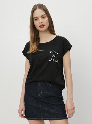 Černé dámské tričko ZOOT Original Víno je láska