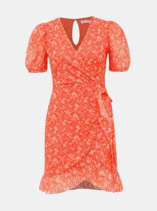 Oranžové květované šaty Miss Selfridge Petites