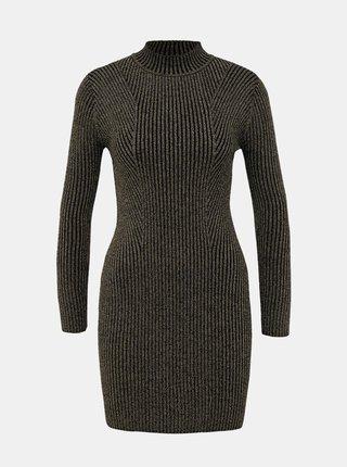 Svetrové púzdrové šaty ve zlato-čiernej farbe TALLY WEiJL Kelly