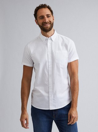 Camasa alba cu maneca scurta si guler buttons down - Burton Menswear London