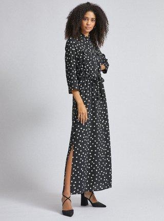 Čierne bodkované košeľové maxi šaty Dorothy Perkins