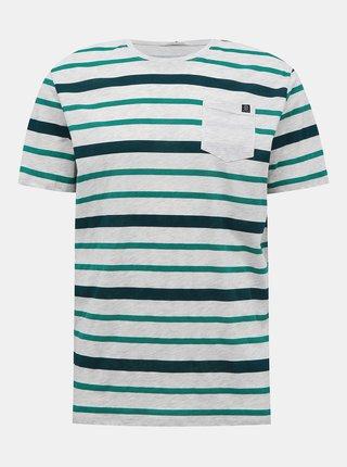 Světle šedé pánské pruhované tričko Tom Tailor