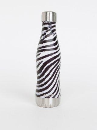 Černo-bílá termolahev se zebrovaným vzorem GLACIAL Zebra 400 ml