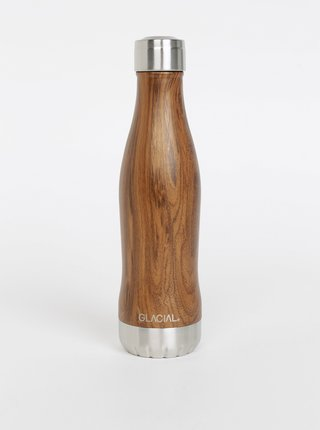 Hnedá vzorovaná fľaša GLACIAL Wood 400 ml