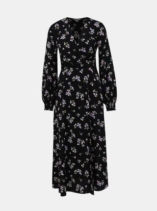 Černé květované maxi šaty Miss Selfridge
