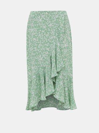 Světle zelená květovaná sukně Miss Selfridge