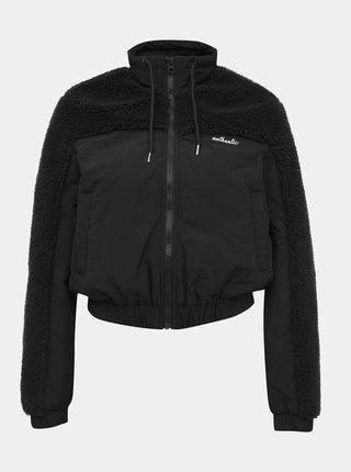 Čierna bunda s umelým kožúškom TALLY WEiJL