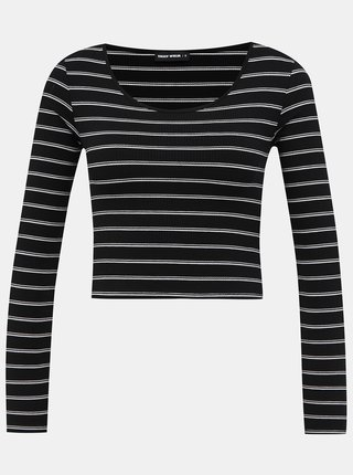 Čierne pruhované krátke basic tričko TALLY WEiJL