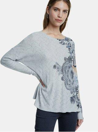 Šedý vzorovaný sveter Desigual Pushkar