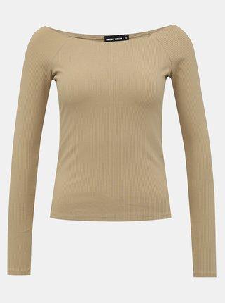 Béžové žebrované basic tričko TALLY WEiJL