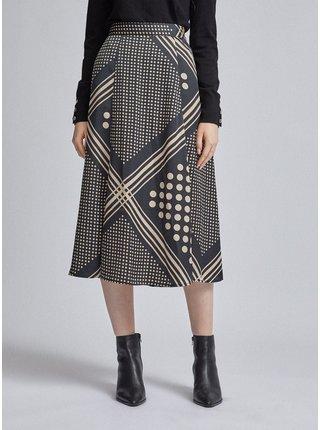 Čierna vzorovaná midi sukňa Dorothy Perkins
