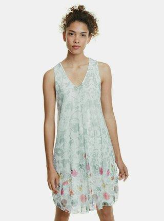 Svetlozelené kvetované šaty Desigual Carnagy