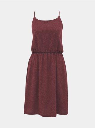 Vínové žíhané basic šaty s prímesou ľanu ZOOT Baseline Radka