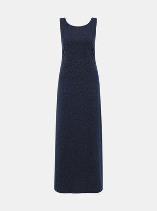 Tmavomodré basic maxi šaty s prímesou ľanu ZOOT Cecilie