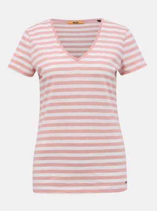 Bielo-ružové dámske pruhované basic tričko ZOOT Baseline Aliki