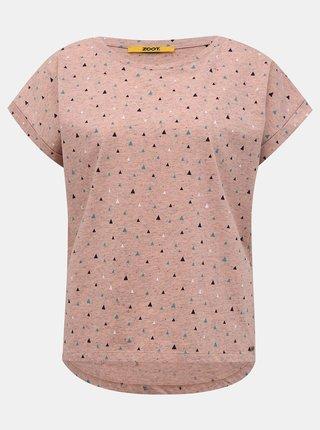 Svetloružové dámske vzorované tričko ZOOT Baseline Runa