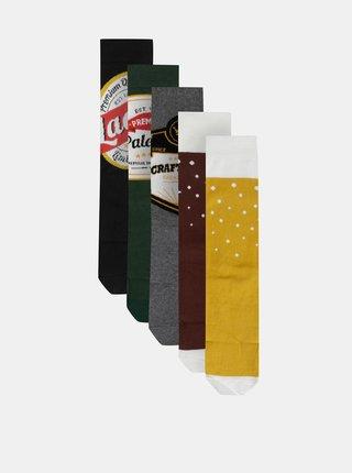 Sada pěti párů pánských vzorovaných ponožek v zelené, hnědé a černé barvě M&Co