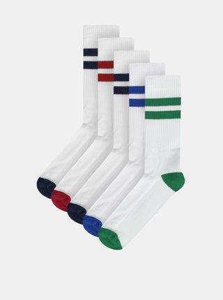 Sada pěti párů pánských bílých ponožek M&Co