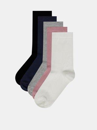 Sada troch párov ponožiek v bielej, šedej a čiernej farbe M&Co