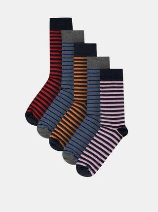 Sada piatich párov pruhovaných ponožiek v modrej a šedej farbe Burton Menswear London