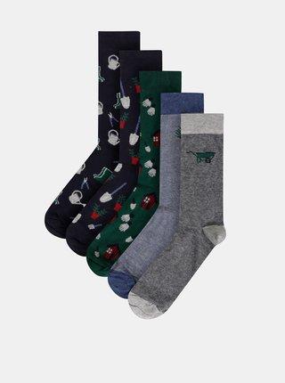 Sada pěti párů pánských vzorovaných ponožek v šedé, zelené a modré barvě M&Co