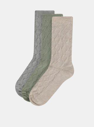 Sada troch párov ponožiek v béžovej, zelenej a šedej farbe M&Co