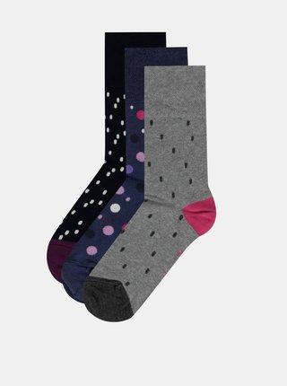 Sada troch párov bodkovaných ponožiek šedej a modrej farbe M&Co