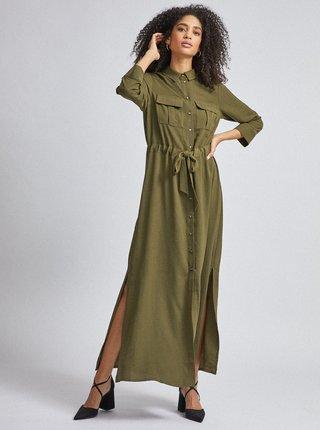 Zelené košeľové maxišaty Dorothy Perkins