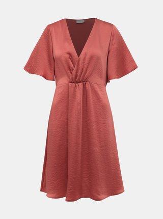 Tehlové saténové šaty VILA Floating