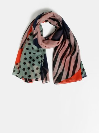 Růžovo-zelený vzorovaný šátek Pieces Naja
