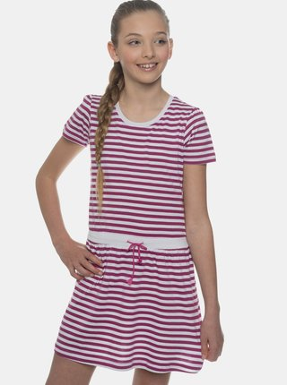 Ružové dievčenské pruhované šaty SAM 73