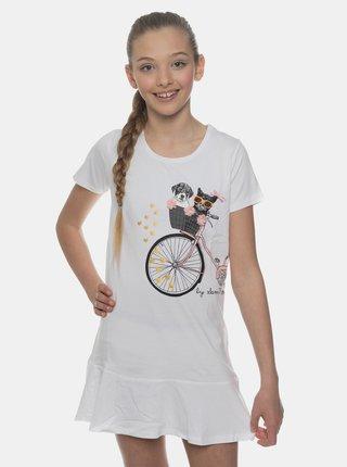 Biele dievčenské šaty s potlačou SAM 73