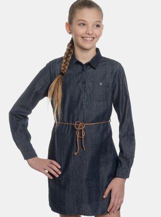 Tmavomodré dievčenské košeľové rifľové šaty SAM 73