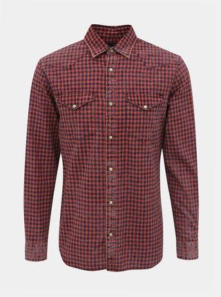 Červená kockovaná slim fit košeľa Jack & Jones Weston