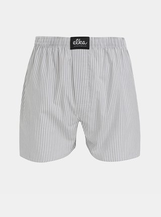 Bielo-šedé pánske pruhované trenýrky ELKA Underwear